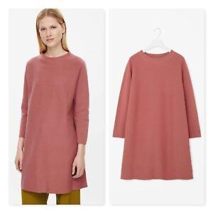4b8c356f7 COS Sweden Milano Knit sweater dress A-Line high neck dusty pink sz ...