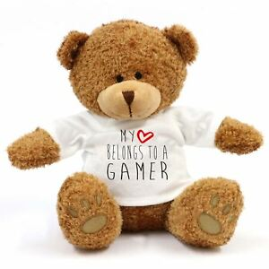 Impartial My Heart Belongs To A Gamer Grand Ours En Peluche - Cadeau, Travail, Love DernièRe Mode