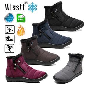 Waterproof Winter Women Men Shoes Snow Boots Fur-lined Slip On Warm Ankle Boot