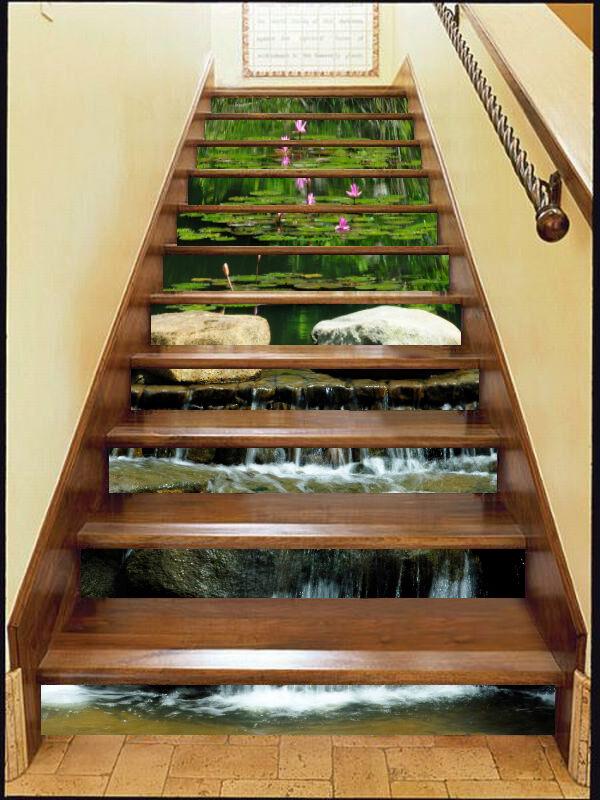 3D Leaf water 7 Stair Risers Decoration Photo Mural Vinyl Decal Wallpaper UK