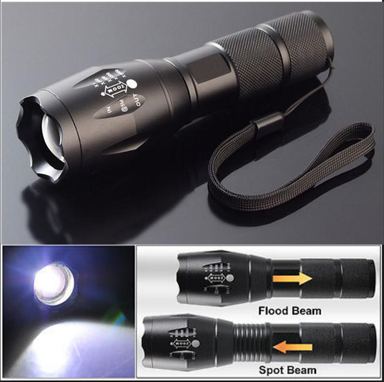 8000LM Cree T6 LED Flashlight Tactical Zoomable Police Torch Lamp AAA Light Gift