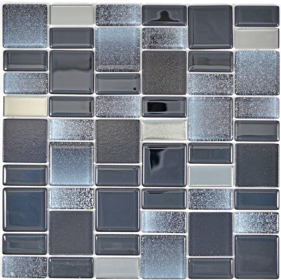 Glasmosaik schwarz Fliesenspiegel Küche Wandverkleidung Bad 68-035B   10 Matten
