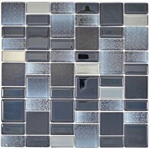 Mosaico-in-vetro-nero-Specchio-Piastrelle-Cucina-Rivestimento-Muro-Bagno-68-035b-10-Tappetini