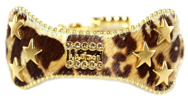 BB Simon Brown Animal Print Dog Collar Large