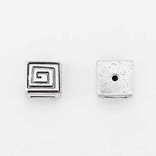 10Pcs Argent Antique Plate Slider Swirl//Spirale Perles Intercalaires pour 5 mm plat cuir