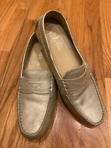 46e28fa94fc COLE HAAN Trillby Gold Metallic Leather Slip On Drivers Moccasins ...