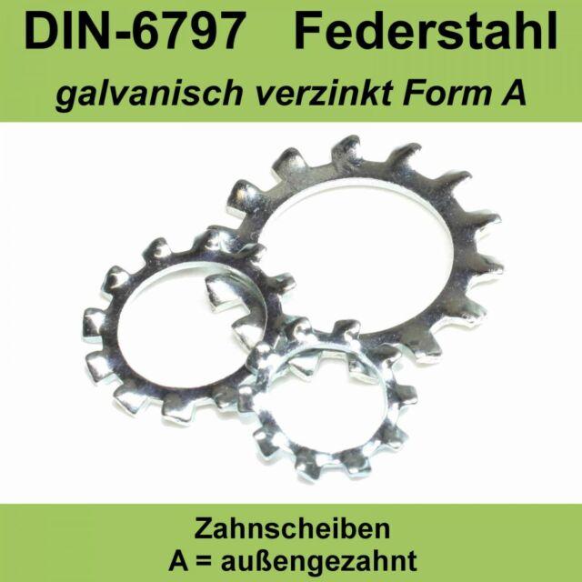 23,0 DIN 6797 Zahnscheiben verzinkte Form A außengezahnte AZ Federstahl f. M22