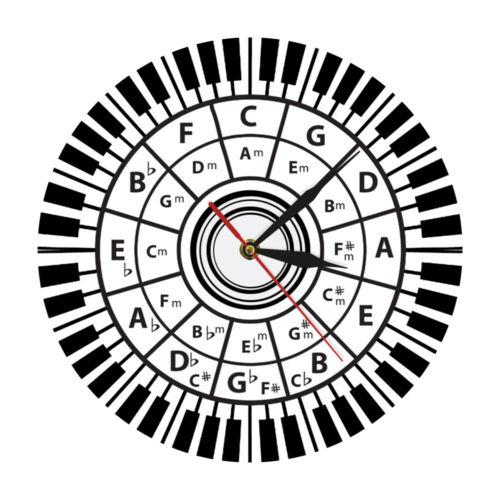 Piano Keys Wall Clock Musician Circle Of Fifths Music Harmony Theory Studio Sign