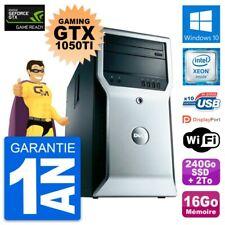 PC Dell T1600 Gaming GTX 1050Ti E3-1245 RAM 16Go 240Go SSD + 2To HDD Windows 10