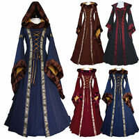Red Hooded Ball Gown Game Thrones Renaissance Medieval Queen Fancy Dress Costume