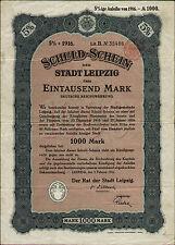 Comune di Lipsia colpa-patente 1000 Mark 1916 ungelocht uncancelled obbligazionari bond