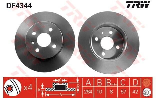 TRW Juego de 2 discos freno Trasero 264mm OPEL ASTRA COMBO MERIVA DF4344