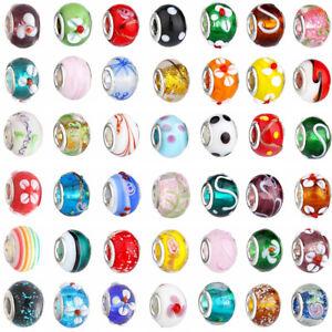 20p-Mixed-SILVER-MURANO-GLASS-BEAD-LAMPWORK-Fit-European-Charm-Bracelet-ht56