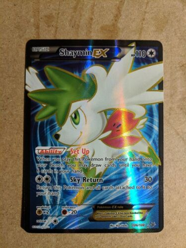 Near Mint Pokemon Card Ultra Rare Full Art Shaymin EX 106//108 Roaring Skies