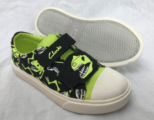 BNIB Clarks Doodles Boys Tricer Roar Black Canvas Shoes F//G Fitting