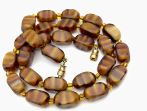 Vintage Cased Faux Agate Glass Carmel Brown Bead 18 Inch Necklace GIFT BOXED