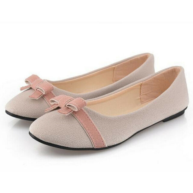 Women's OL Bow Ladies Ballerina Nubuck leather Flats Slippers Casual Shoes D97