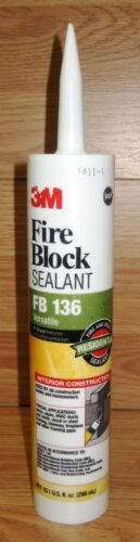3M Fire Block Chimney Fireplace FB 136 Versatile 10.1 Fl oz Gray Barrier Sealant