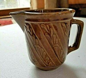 Pottery Pitcher Milk Creamer Brown Glaze USA - Vintage