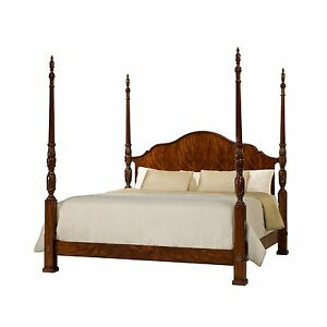 Finely Carved Mahogany Four Poster Bed