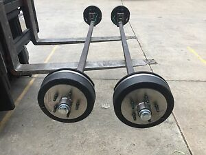 NEW-45SQ-1400KG-ELECTRIC-BRAKE-COMPLETE-TRAILER-LOWERED-DROP-AXLE-SUIT-TILT-CAR