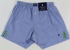 Ralph Lauren Classic Fit Blue Striped Green Plaid Slit Boxer Shorts NWT