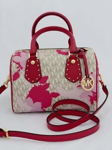 bc16cf5a0eb0 Image is loading new-MICHAEL-KORS-pink-logo-ARIA-SMALL-SATCHEL-