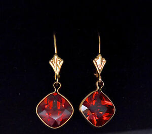 Solid-14K-Yellow-Gold-Cushion-Fancy-Red-Lab-Diamond-Dangle-Earrings-4ct