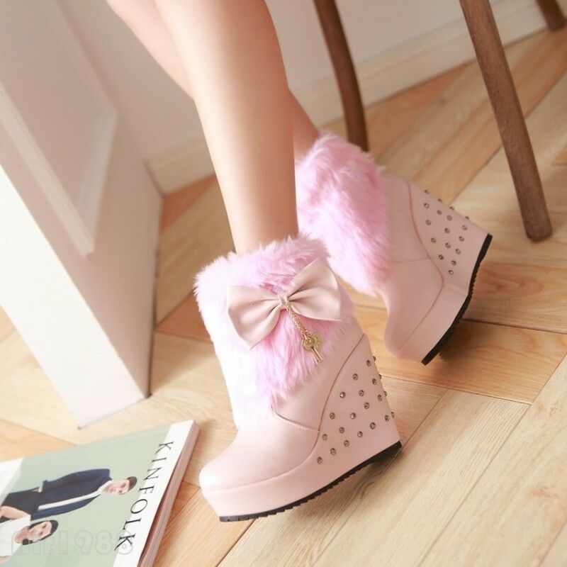 Winter Women's Furry Warm Wedge Heels Snow Ankle Boots Bow Rivets Platform shoes