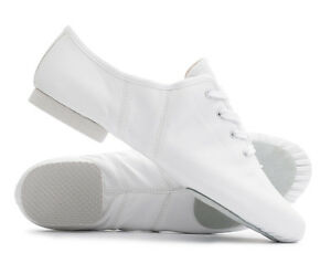 White PU Rubber Split Sole Lace Up Jazz Dance Stage