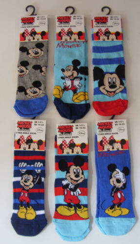 Boy/'s//Girls MICKEY MOUSE socks in 6 Designs and 3 Sizes