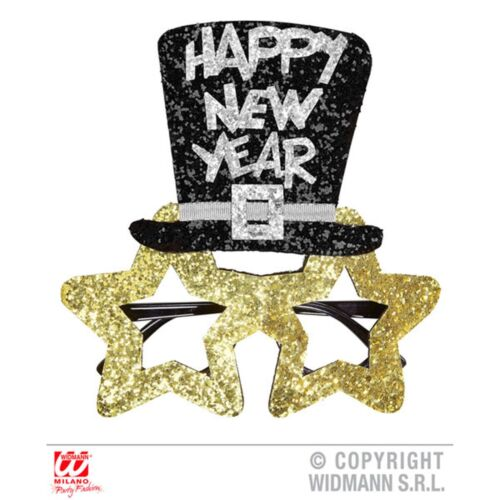 Gold Happy New Years Glasses Stars Party Fancy Dress Costume Prop Accessory