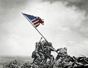 Battle of Iwo Jima Flag Raising WW2 United States Marines 11x14 photo print wall decor man cave sports Football