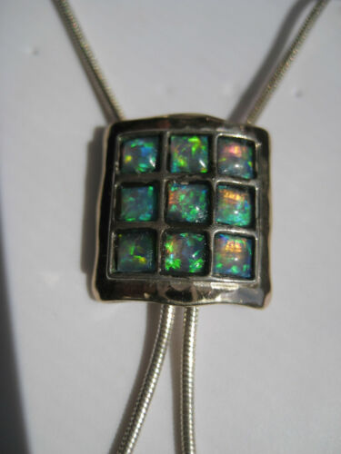 Sterling Silver-925 and Gold Filled Pendant Necklace - Opals - Very Unique - NEW