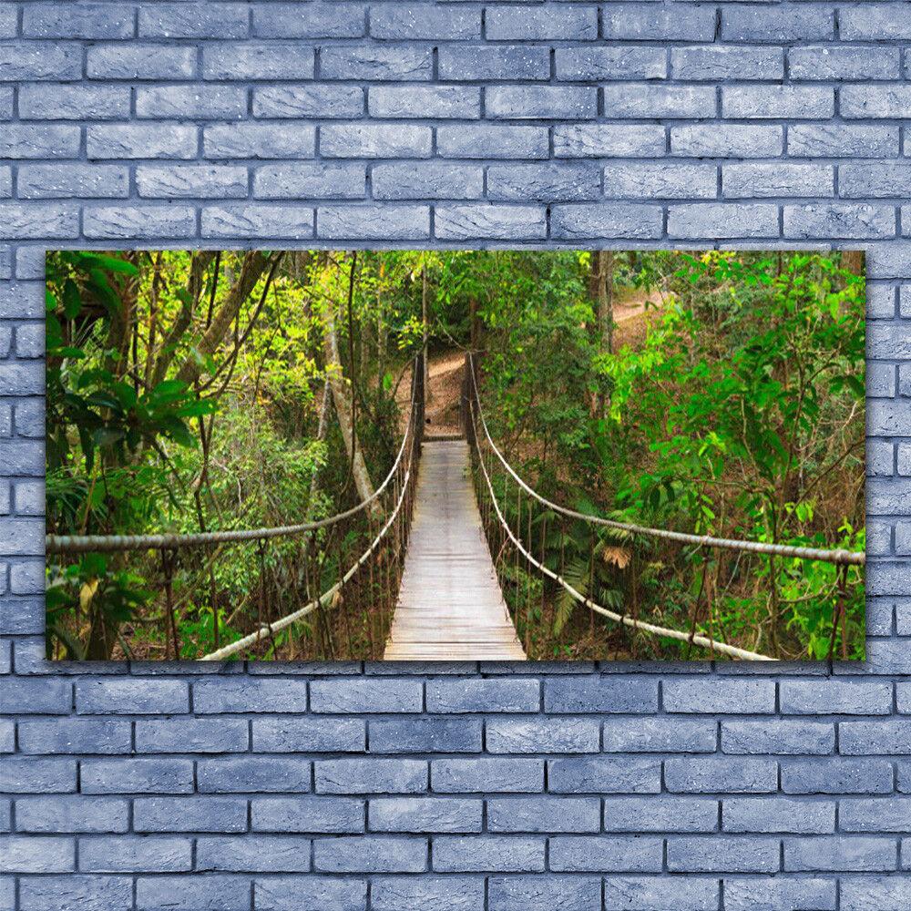 Leinwand-Bilder Wandbild Leinwandbild 140x70 Brücke Wald Natur