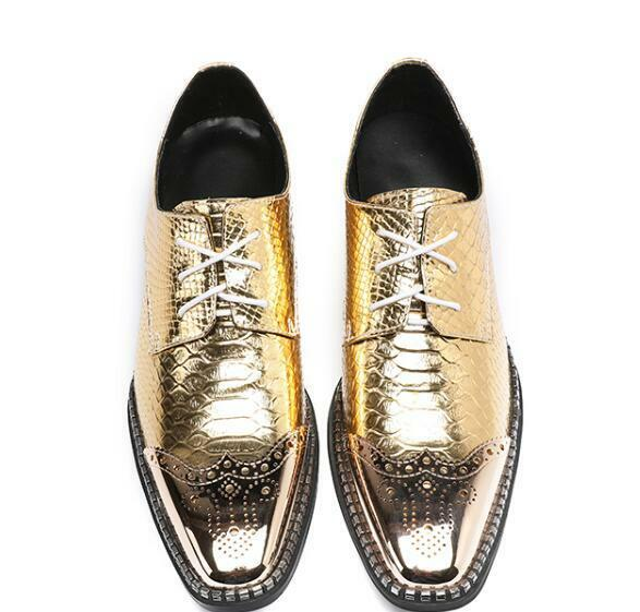 Men Formal Pointed Toe Low Top Metal Decor gold lace up Loafers Business shoes