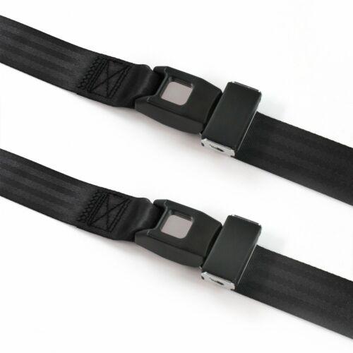 2 Belts SafTboy Ford 1955-1956 Standard 2pt Black Lap Bucket Seat Belt Kit