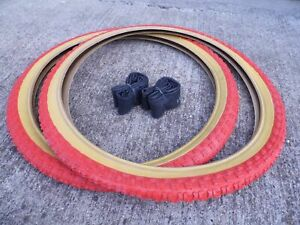Raleigh Burner Old School BMX Tyres / Comp 3 Tread / Red 20 x 1.75 (Pair of)