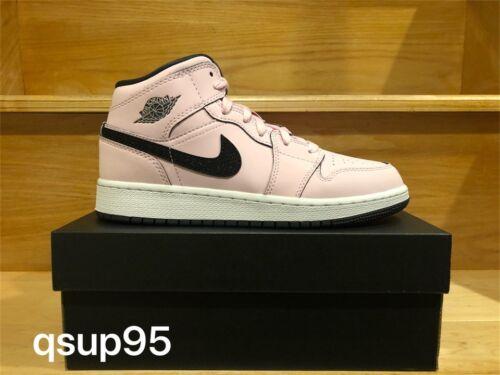 Nike Air Jordan 1 MID Pink Foam Black White GS 555112 601 Size 4Y-7Y New