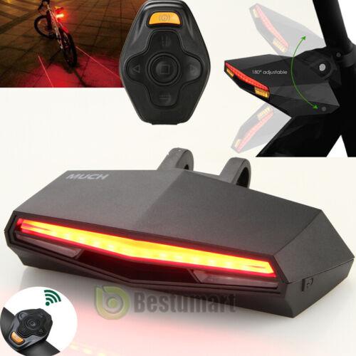 2 Laser Bicycle Bike Indicator Signal LED Rear Tail Light Wireless Remote USB
