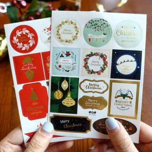 2x Stickers Merry Christmas Snowflake Santa Best Wishes Gift Seal Present Label