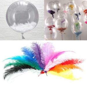 100Pcs-Rainbow-Colored-Natural-Feathers-Transparent-Balloon-Accessories