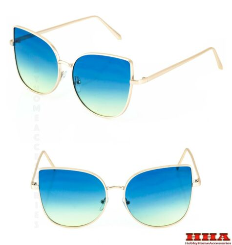 EXAGGERATED VINTAGE RETRO CAT EYE Style SUNGLASSES Gold Frame Aqua /& Yellow Lens