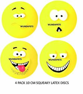 4-PACK-TRIXIE-LATEX-SQUEAKY-DOG-10-CM-DISC-DOG-PUPPY-TOYS-CHARACTER-FACES-35265