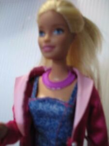Barbie-doll-Blonde-Hair-Pink-Jacket-Short-Dress-shoes-bent-arm-straight-legs