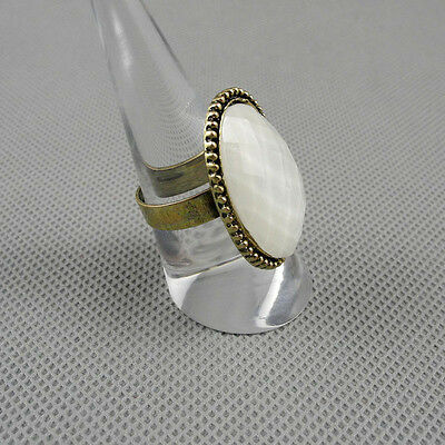 1x White Rhinestone Resin Hollow Faceted Oval Adjustable Ring Finger XLJ0024