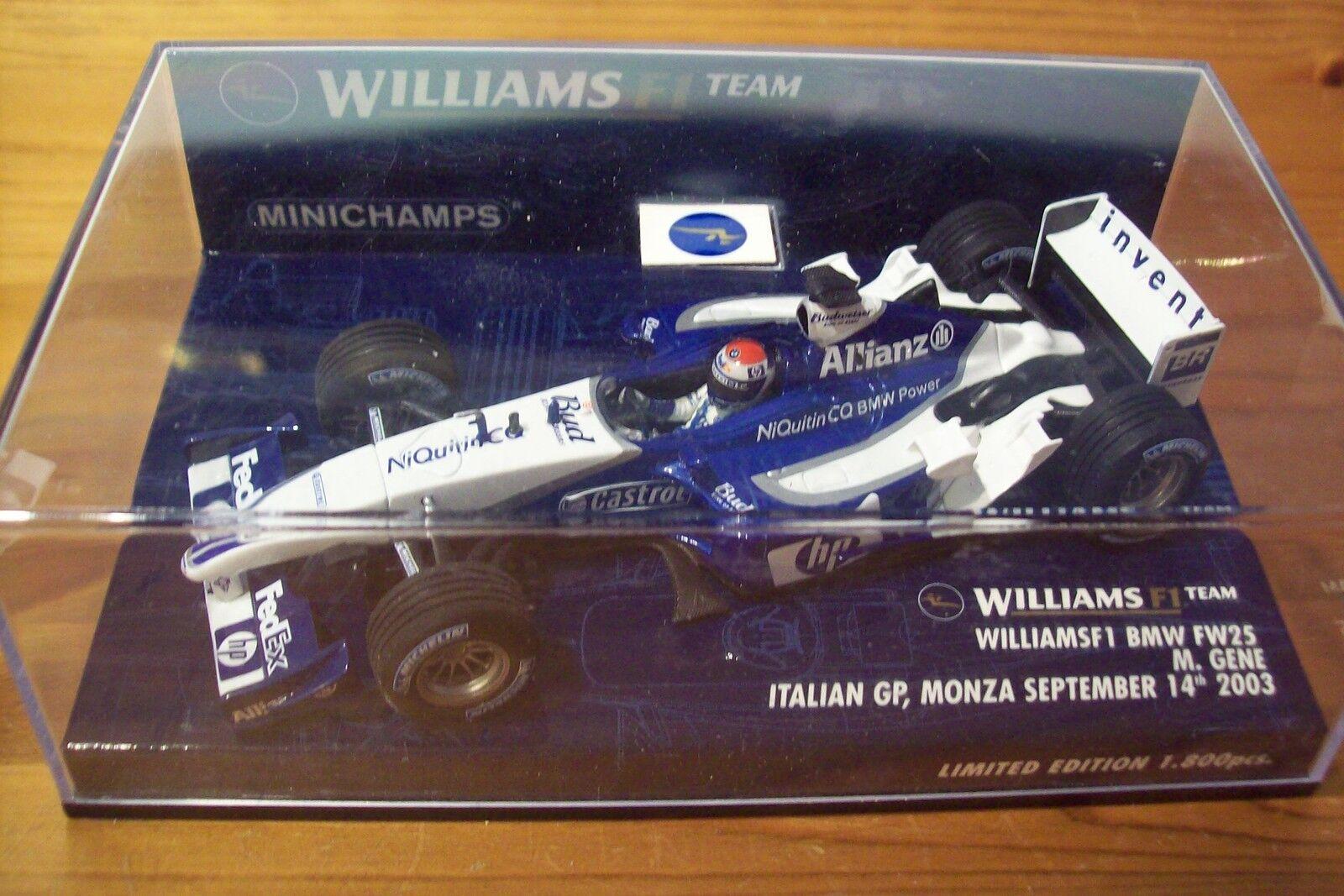 1 43 WILLIAMS 2003 BMW FW25 MARC GENE GP ITALY