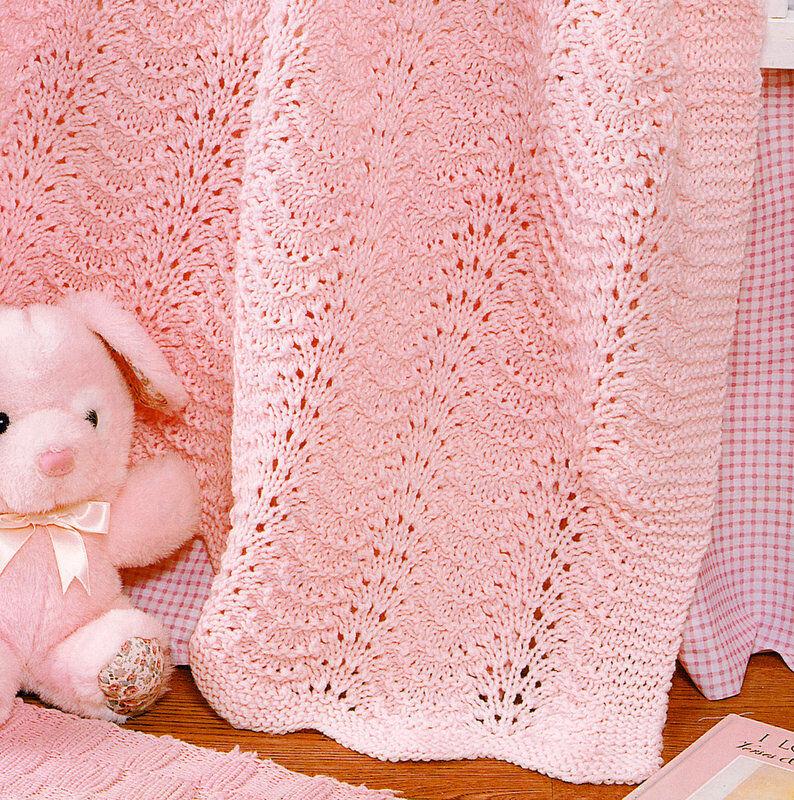 Feather Fan Wavy Baby Blanket 35 X 45 Aran Wool Knitting