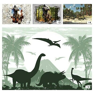 Tapete Vlies Fototapete für Kinderzimmer Tiere Cartoon Dinosaurier