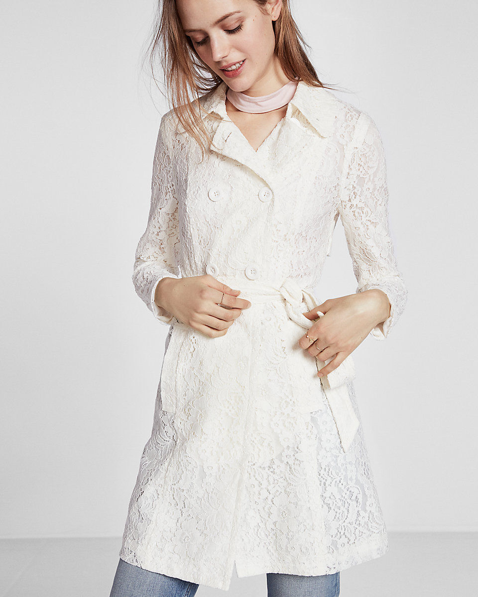 NEW EXPRESS  178 SOFT IVORY FLORAL LACE TRENCH COAT SZ XL EXTRA LARGE